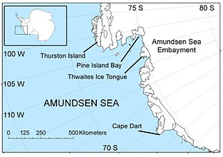 Amundsen Sea An arm of the Southern Ocean off Marie Byrd Land in western Antarctica between Cape Flying Fish to the east and Cape Dart on Siple Island to the west