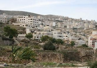 Nablus - Ruins from antiquity (foreground) in a residential area in Nablus, 2008