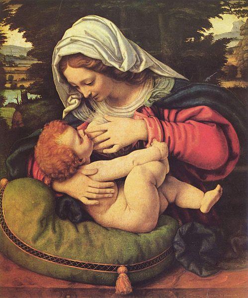 Madonna mit dem grünen Kissen (Maria lactans), Andrea Solario, Bild: wikipedia