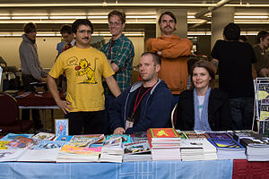 Andrice Arp - Andrice Arp (right) with Chris Cilla, Jesse Reklaw, Dylan Williams and Tim Goodyear at the Stumptown Comics Festival in 2007.