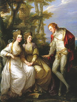 Georgiana Cavendish, Duchess of Devonshire - With her siblings, Henrietta and George, by Angelica Kauffman, c. 1774. The painting was painted just before Georgiana's marriage to the Duke of Devonshire