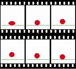 Animation - The bouncing ball animation (below) consists of these six frames.