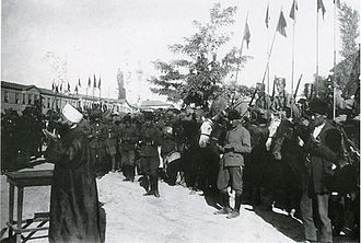 Battle of Dumlupınar - Turkish soldiers at prayer during Eid al-Adha before going to the front on 4 August 1922, Ulus Square, Ankara.
