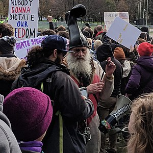 Vermin Supreme - Supreme at an anti-fascist rally in Boston, November 2017