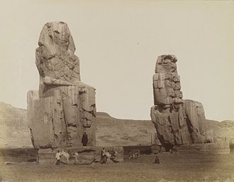 Colossi of Memnon - Antonio Beato, Colosses de Memnon, 19th century. Brooklyn Museum