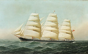 Antonio Jacobsen - The British clipper ship Laomene under full sail at sea.jpg