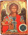 Archangel Michael II Half of XVII Century, St Mary Perivleptos Church, Ohrid Icon Gallery.jpg