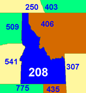 Area codes 208 and 986 - Image: Area code ID