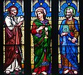 Armagh Roman Catholic Cathedral of St. Patrick Sanctuary East Aisle Window 02 Apostles James the Greater, John, and Peter Detail 2013 09 24.jpg