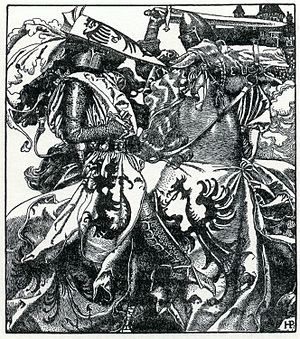 Sir Kay - Sir Kay breaketh his sword at ye Tournament, by Howard Pyle from The Story of King Arthur and His Knights. (1903)