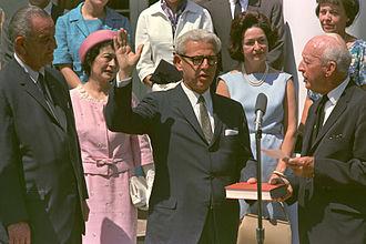 Arthur Goldberg - Goldberg being sworn in as U.N. Ambassador by Justice Hugo Black, July 26, 1965. Lyndon Johnson (left) looks on.