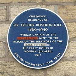 Arthur rostron plaque