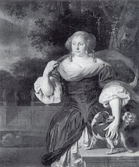 Portrait of a Woman with Dog in a Park Landscape