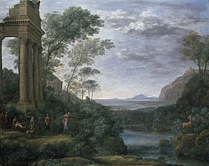 Ascanius - Landscape with Ascanius Shooting the Stag of Sylvia (1682), Claude Lorrain's last painting