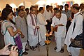 Ashim Kumar Banerjee Lighting Inaugural Lamp - Biswatosh Sengupta Solo Exhibition - Kolkata 2015-07-28 3323.JPG