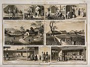 This 1850 engraving shows the different stages in the process of making tea in Assam.
