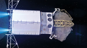 Asteroid Redirect Mission - Rendering of the Asteroid Redirect Vehicle departing the asteroid after capturing a boulder from its surface.