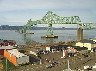 Astoria–Megler Bridge - Astoria-Megler Bridge from the Astoria side of the Columbia River
