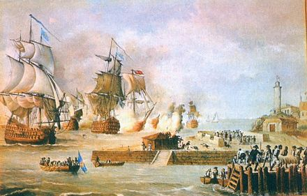 Battle of Cartagena de Indias March-May 1741, during this battle the Spanish Empire defeated a British fleet of over 30,000 professional soldiers, 51 warships and 135 transport ships counting the Spanish army only less than 2400 professional soldiers, 600 natives and 6 ships. Ataque Cartagena de Indias.jpg