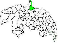 Mandal map of Guntur district showing Atchampet mandal (in green)