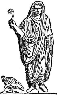 An augur holding a lituus, the curved wand often used as a symbol of augury on Roman coins