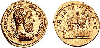 "Macrinus - An aureus of Macrinus. Its elaborate symbolism celebrates the liberalitas (""prodigality"") of Macrinus and his son Diadumenianus."