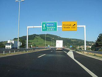 European route E73 - E73 route as A1 at Visoko exit near Sarajevo, Bosnia and Herzegovina