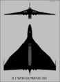 Avro Vulcan B.1 Olympus 593 testbed two-view silhouette.png