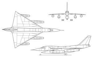 Orthographically projected diagram of the B-58 Hustler.