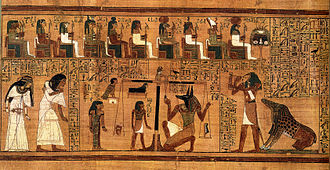 "Maat - Weighing of the Heart Book of the Dead written on papyrus showing the ""Weighing of the Heart"" in the Duat using the feather of Maat as the measure in balance"