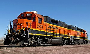 EMD GP38-2 - BNSF Railway GP38-2 no. 2273 at Lincoln, Nebraska, in 2014.