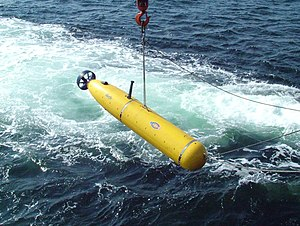 Autonomous underwater vehicle - Picture taken of the Battlespace Preparation Autonomous Underwater Vehicle (BPAUV) by an employee of Bluefin Robotics Corporation during a US Navy exercise.
