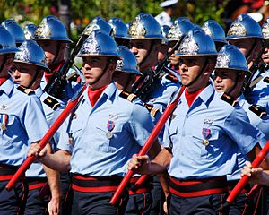 Adrian helmet - The Paris Fire Brigade wears a silver type of Adrian helmet on parades.