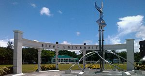 Bicol University - The Torch of Wisdom and the Four Pillars of the University is the traditional landmark of BU