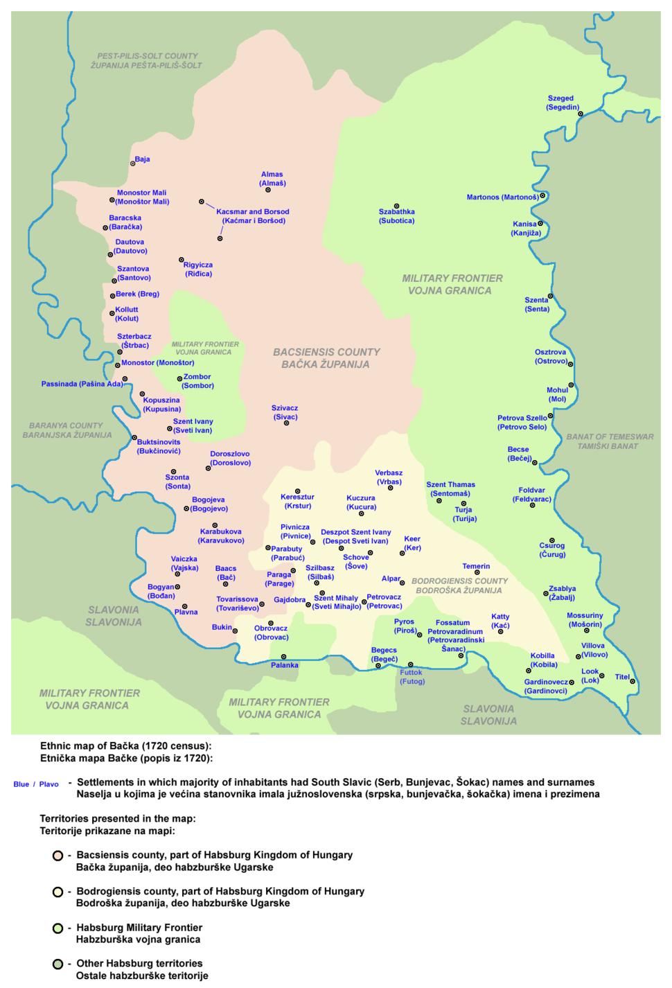 Backa ethnic map 1720