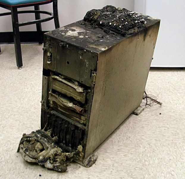 Burned server equipment