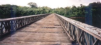 Transport in Suriname - Bailey bridge over the Coppename River near Bitagron.