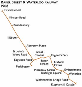 Route diagram showing line running from Paddington at left to Elephant & Castle at bottom right as before. A long branch extends diagonally from Edgware Road towards the top left ending at Cricklewood.