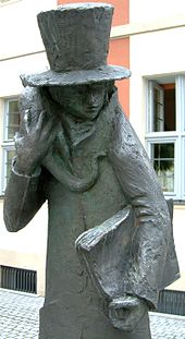 Hoffmann-Plastik vor dem E.T.A.-Hoffmann-Theater in Bamberg (Quelle: Wikimedia)