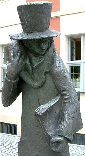 "E. T. A. Hoffmann - Statue of ""E. T. A. Hoffmann and his cat"" in Bamberg"