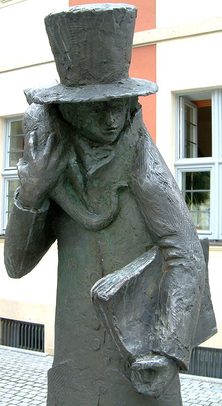 "Statue of ""E. T. A. Hoffmann and his cat"" in Bamberg Bamberg ETA Hoffmann 13aug2007.jpg"