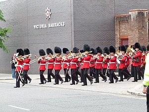 Victoria Barracks, Windsor - Band of The Scots Guards leaves Victoria Barracks