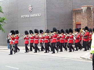Band of the Scots Guards - The band outside of Victoria Barracks, Windsor.