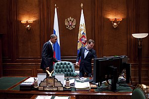Barack Obama in Dmitry Medvedev's office