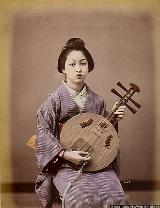 Yueqin - A Japanese woman playing a gekkin, c. 1890