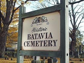 Batavia Cemetery - Batavia Cemetery sign, 2009