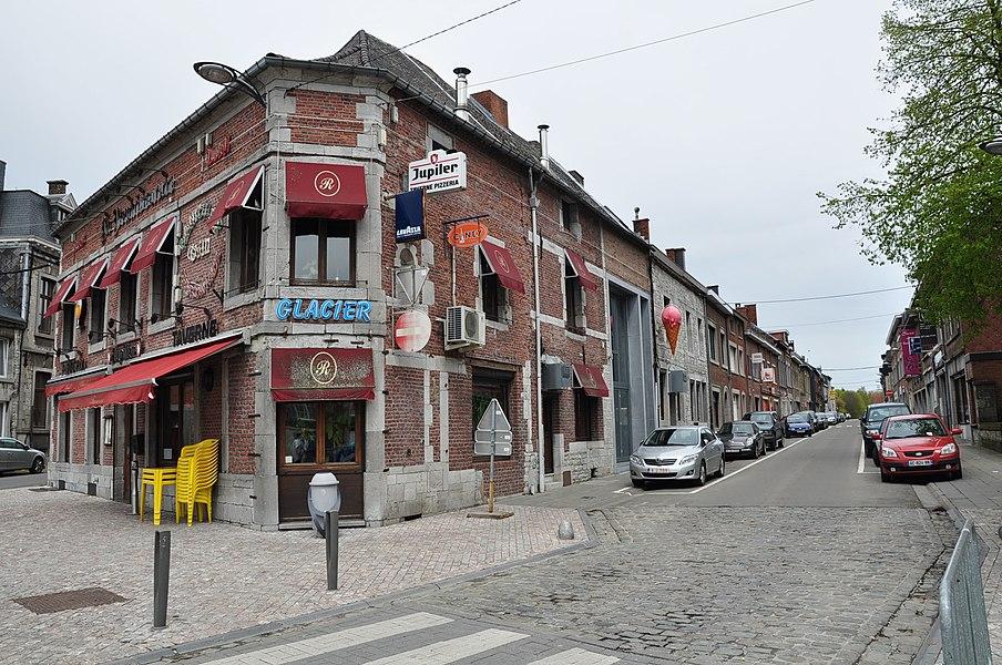 "Pizzeria/tavern ""La Renaissance"" and a view into the Rue de Namur (Namur Street) in Philippeville, Belgium."