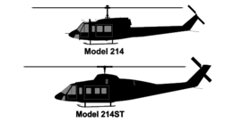 Bell 214 and 214ST side-view silhouettes