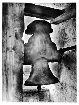 Bell with top balance in the bell tower at Mission Santa Inez, ca.1906 (CHS-4127A)