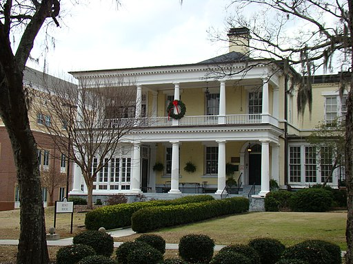 Benet House with Christmas wreath (Augusta State University)